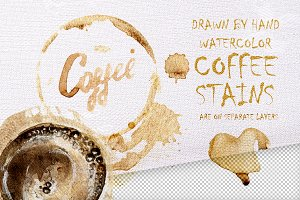 Layered watercolor coffee stains set