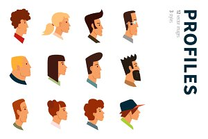 12 Profile Avatars. 3 Styles.