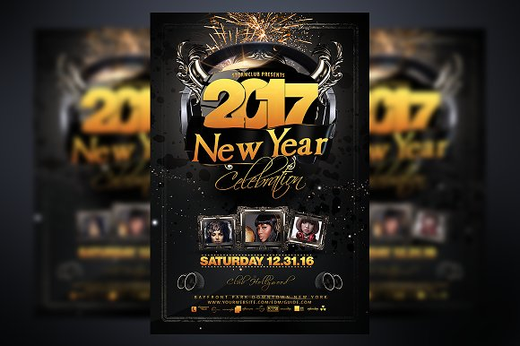 New Year Party Flyer Template Flyer Templates on Creative Market – New Year Party Flyer Template