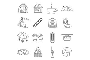 Snowboarding icons set