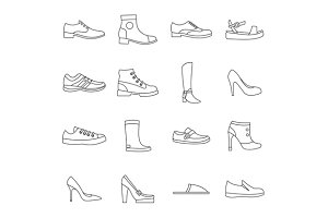 Shoe icons set in outline style