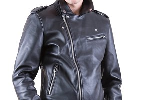 man wear black leather jacket