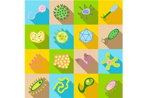Germ and pathogen icons set