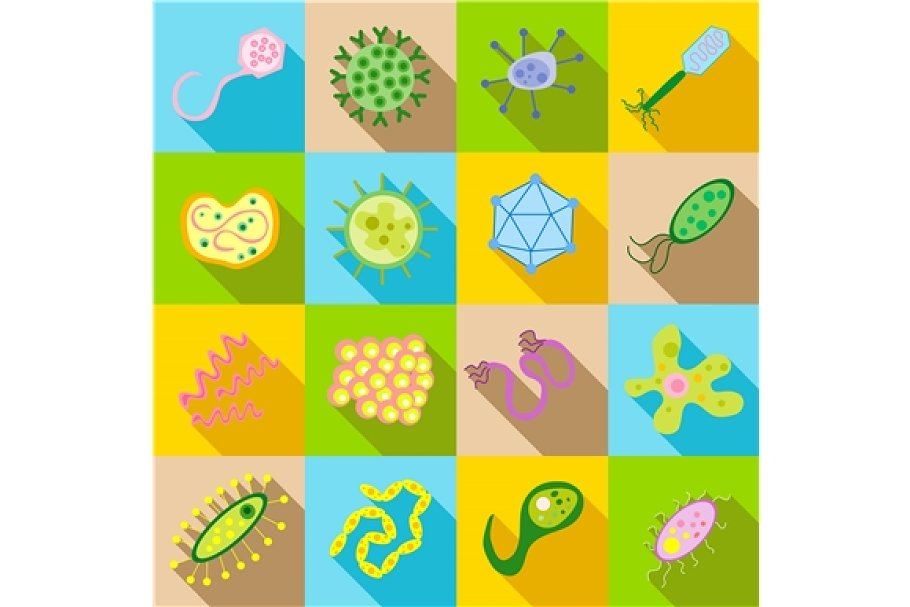 Germ and pathogen icons set in Graphics - product preview 8