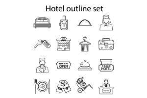 Hotel icons set, outline style