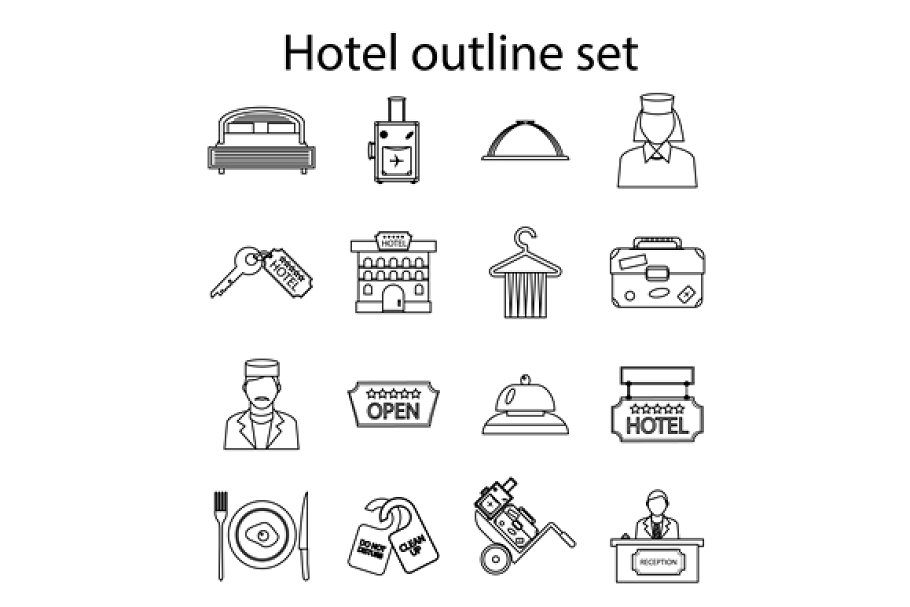 Hotel icons set, outline style in Graphics - product preview 8