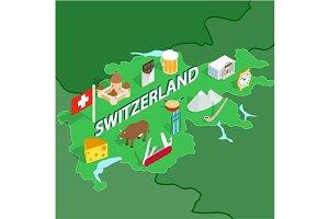 Switzerland map, isometric 3d style