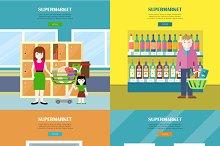 Set of Supermarket Concept