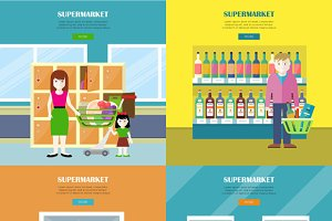 Set of Supermarket Concept