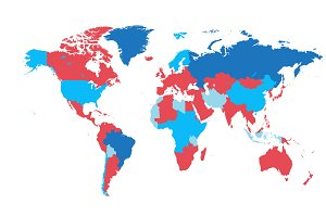 World map with borders flat blue