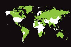 World map with countries green flat