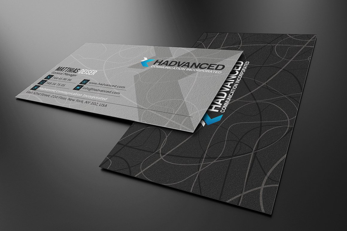 Black and blue business card business card templates creative market grey business card reheart Choice Image