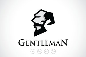 Bearded Gentleman Logo Template