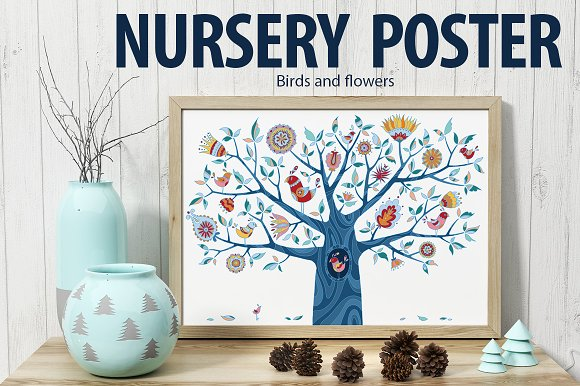 Birds and flovers. Nursery poster. - Illustrations
