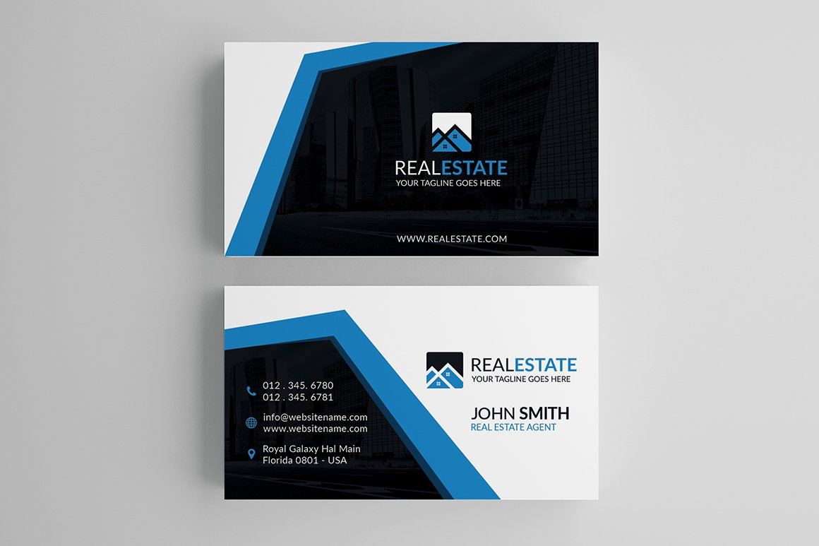 Modern Real Estate Business Card ~ Business Card Templates ...
