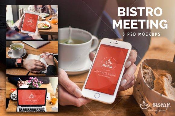5 PSD Mockups Bistro Meeting