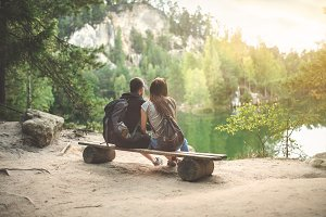 Walk in the woods - Couple on Bench