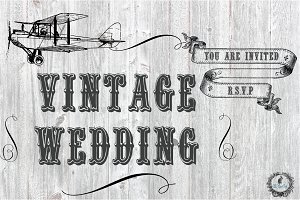 Vintage Wedding Illustration Clipart