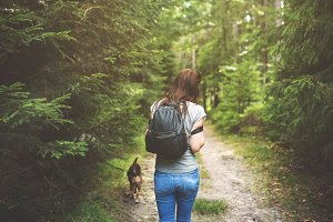 Walk in the woods - Lady and dog