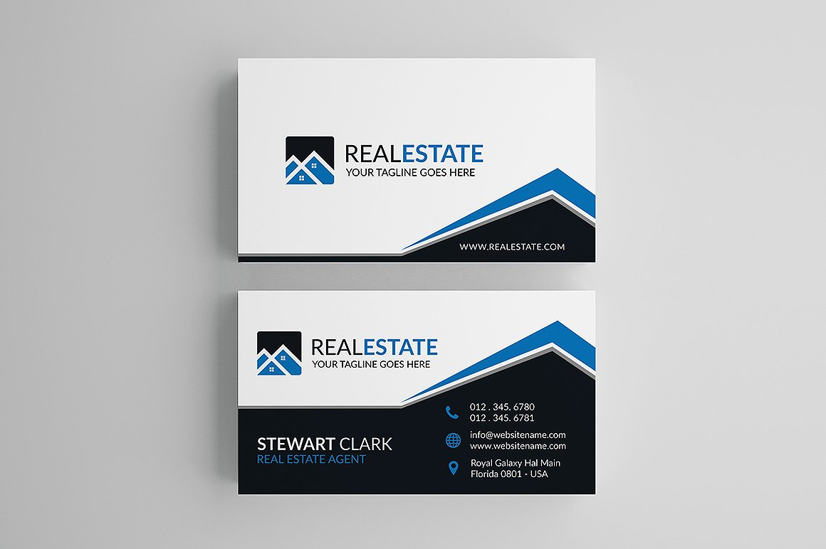 creative real estate business card business card templates creative market - Real Estate Business Card