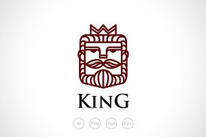 Beard & Mustache King Logo Template