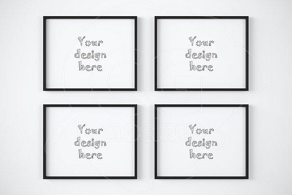 4 Black Frame On White Wall Mockup Product Mockups Creative Market