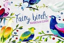 Watercolor fairy birds