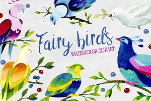 Watercolor fairy birds