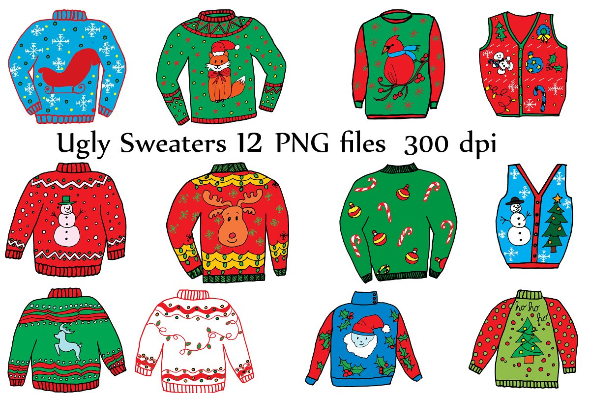 Ugly christmas sweater contest. Clipart