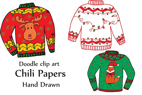 Ugly Christmas Sweater Clipart in Illustrations - product preview 1