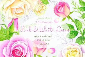 Pink &White Rose Watercolor Clip Art