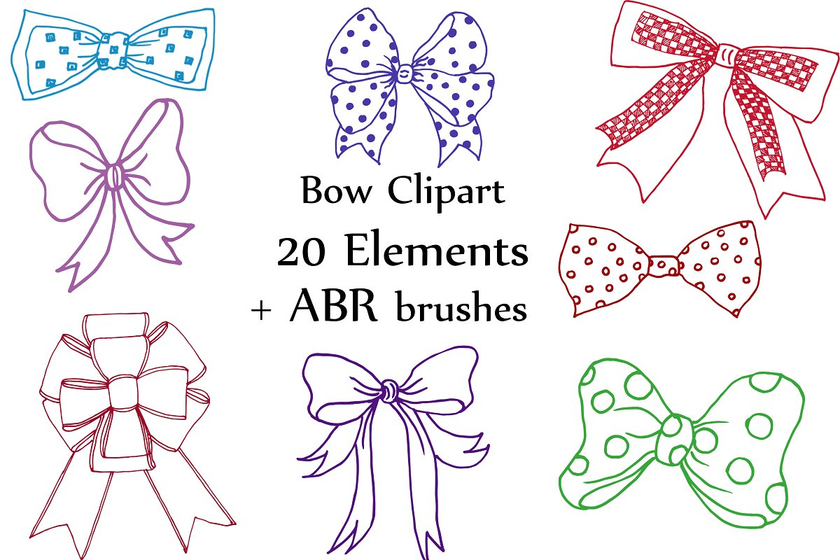 Bow clip art and ABR brushes in Illustrations - product preview 8
