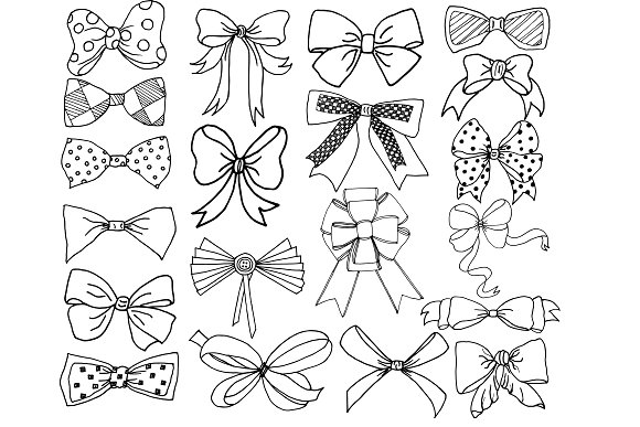 Bow clip art and ABR brushes in Illustrations - product preview 1