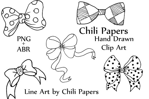 Bow clip art and ABR brushes in Illustrations - product preview 2