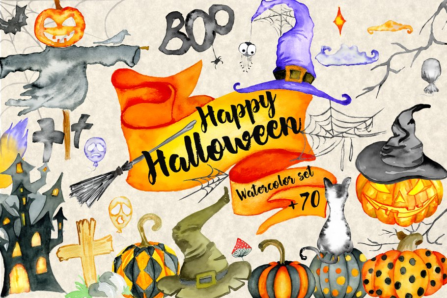 Happy Halloween Watercolor Bundle in Illustrations - product preview 8