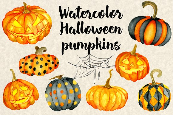 Happy Halloween Watercolor Bundle in Illustrations - product preview 1