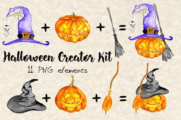 Happy Halloween Watercolor Bundle in Illustrations - product preview 2