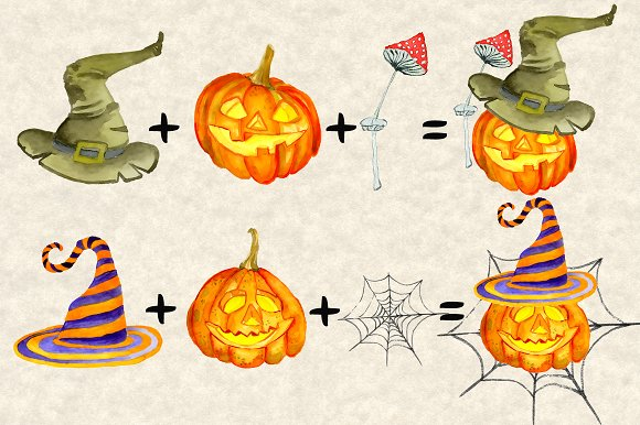 Happy Halloween Watercolor Bundle in Illustrations - product preview 3