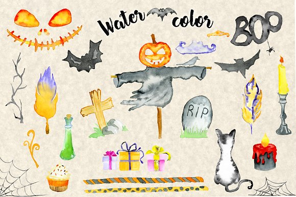 Happy Halloween Watercolor Bundle in Illustrations - product preview 6