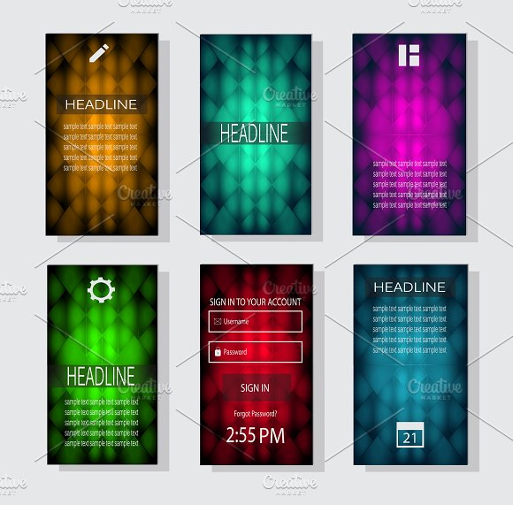 Mobile interface neon color  in Graphics - product preview 5