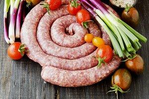 raw beef sausages, selective focus