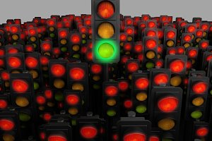 green traffic light among many red. 3d rendering