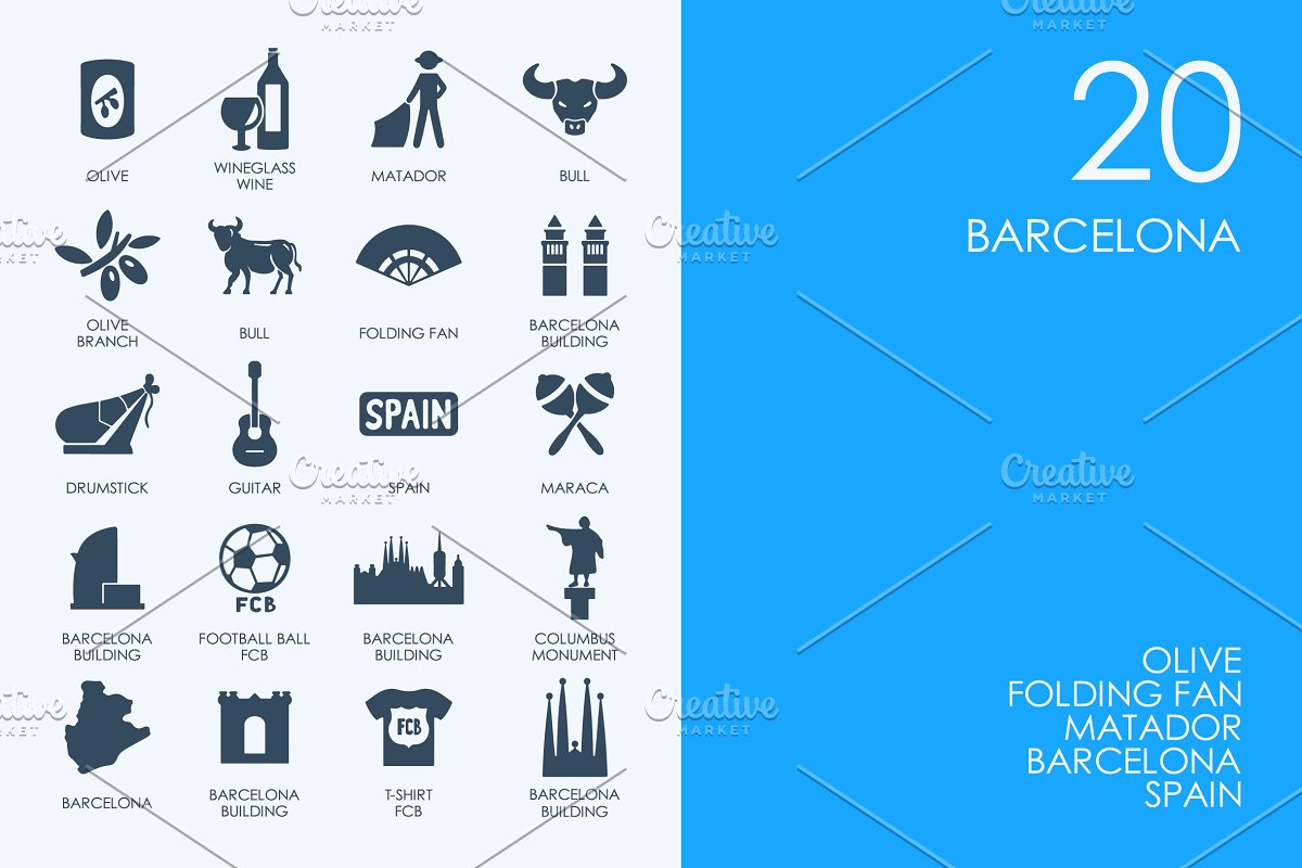Barcelona icons in Graphics - product preview 8