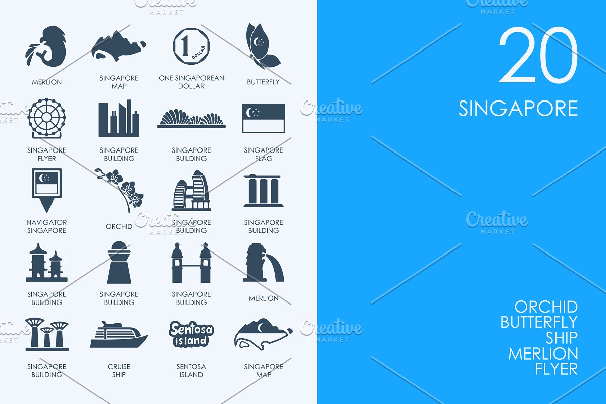 Singapore icons in Graphics - product preview 8