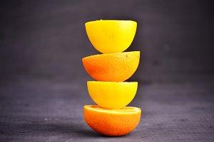 fresh lemon and orange isolated on white