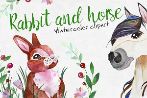 Watercolor rabbit and horse