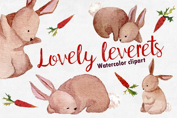 Watercolor Lovely leverets