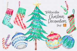 Watercolor Xmas Decor Clip Arts-1