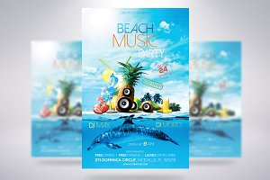 Beach Music Party Flyer