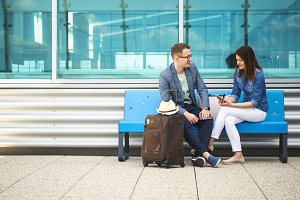 Airport - Couple on bench